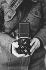 Woman with analog camera