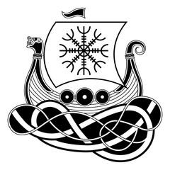 Vikings Drakkar. Norse Symbol. Aegishjalmur. Runes