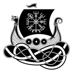 Vikings Drakkar. Norse Symbol. Aegishjalmur. Warrior