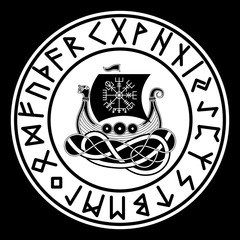 Vikings Drakkar. Norse Symbol. Aegishjalmur. Futhark