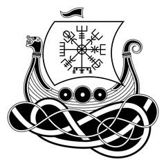Vikings Drakkar. Norse Symbol. Aegishjalmur. Celtics