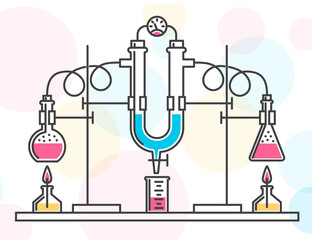 Composition of chemical flasks, hoses and a manometer in a chemical laboratory. Vector color illustration in a line style. Possible reconfiguration.