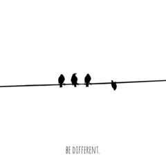 Funny and minimalistic concepts of a bird trying to be different. Vector illustration. Modern design.