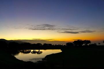 pepperdine pond, dawn breaks