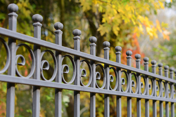 beautiful wrought fence. metal fence close up. Metal Forged Fence. beautiful fence with artistic forging
