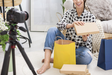 Blogger unboxing gifts