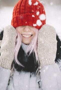 happy winter portrait with snow