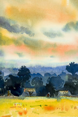 Abstract watercolor painting of village view,tree mountain