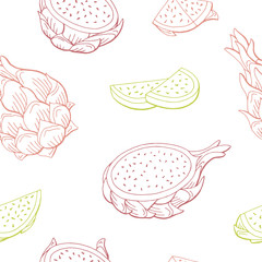 Pitaya dragon fruit graphic color seamless pattern sketch illustration vector