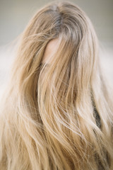 wild  free blond woman, selective focus