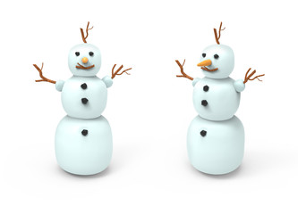 Two white snowmans. 3D image on white background