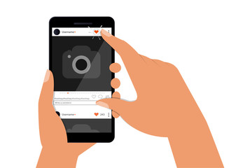 A female hand holds a smartphone with a photo on the smartphone screen. Multimedia, the concept of social networks. Modern simple flat design for web banners, website, infographic, social networks.