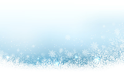 Christmas abstract vector wallpaper with snowfall, glitter, snowflakes and stripe for your content.
