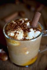 Drinks: pumpkin spice latte close-up