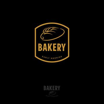 Premium gold retro bakery logo badge