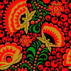 Rosyjski etniczny khokhloma bezszwowy wzór - 177380533