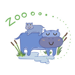Illustration of doodle cute hippos, hand drawn graphic