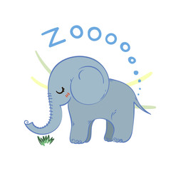 Illustration of doodle cute elephant, hand drawn graphic