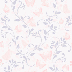 Seamless pattern with flying butterflies and flowers in background, vector illustration.