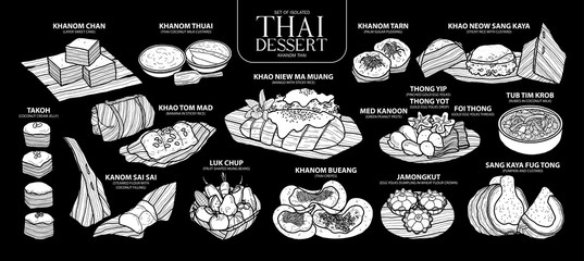 Set of isolated white silhouette Thai dessert in 14 menu. Cute hand drawn food vector illustration in white plane (no outline).