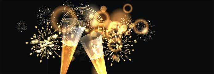 Hintergrund mit Sektgläser, Ziffernblatt und Feuerwerk