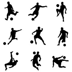 Football players black silhouettes in actions, isolated on white background. Vector illustration