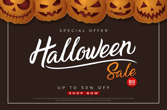 Halloween sale background with pumpkins flyer template. 31 october autumn seasonal sale with Halloween lettering logo for poster, webs, card, label, banner design. Vector illustration