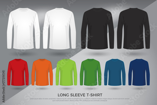 dca7733e Men's long sleeve t-shirt, Set of black, white and colored long sleeve shirts  templates design. front and back view shirt mock up. vector illustration