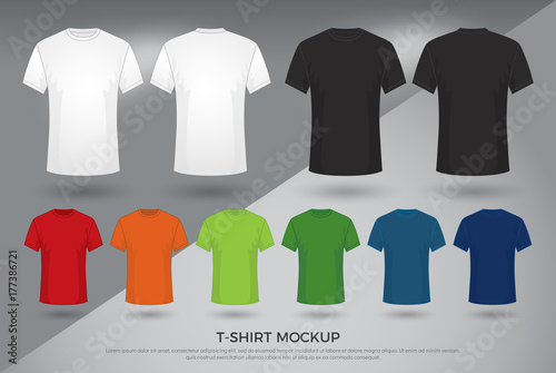 c93bcf96 Men's t-shirt mockup, Set of black, white and colored t-shirts templates  design. front and back view shirt mock up. vector illustration