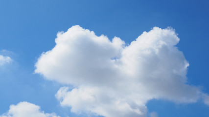 Bright blue clear sky with big white cloud in bird shape at the center, wide screen background