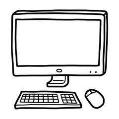 modern computer / cartoon vector and illustration, black and white, hand drawn, sketch style, isolated on white background.