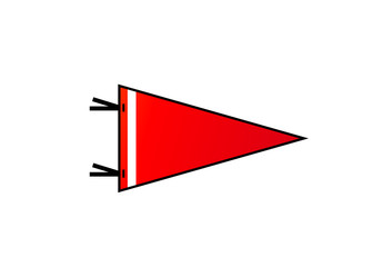 Pennant on white background. Red flag with white strip in flat style