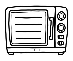 oven / cartoon vector and illustration, black and white, hand drawn, sketch style, isolated on white background.