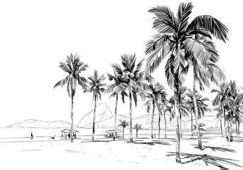 Copacabana beach. Rio de janeiro. Brazil. Hand drawn city sketch. Vector illustration.