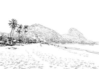 Red Beach. Rio de janeiro. Brazil. Hand drawn city sketch. Vector illustration.
