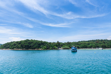 View from the sea of Koh Samet island, Rayong, Thailand.