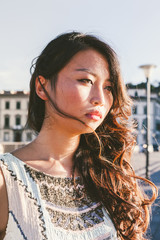Young Asian Female Direct Sunlight Portrait