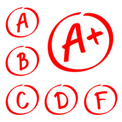 Grade results. Hand drawn vector set of grades. Red notes.