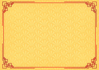 chinese new year background with red border, abstract oriental wallpaper with decoration frame, yellow chinese overlap fan inspiration, vector illustration