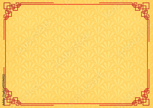 chinese new year background with red border abstract oriental wallpaper with decoration frame yellow