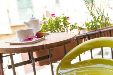 Breakfast on a terrace. Coffee break. Outdoors breakfast