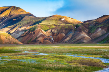 Early summer morning in the Landmannalaugar, Iceland