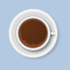 Coffee cups top view realistic 3d food design restaurant cafe menu shop vector illustration.