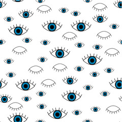 Blue eye. Vector seamless pattern with blue eye. Cute and funny fashion illustration patches or stickers kit.