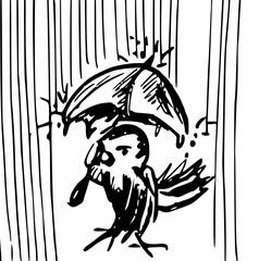vogel in de regen