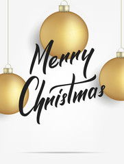 Merry Christmas. Card with realistic gold Christmas balls. Merry Christmas lettering banner design