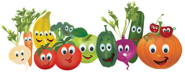 Illustration Collection of Animated Vegetables nad Fruits. Cucumber, Carrot, Pumpkin, Turnip, Pepper, Banana, Cherry, Beet, and Tomato, Characters