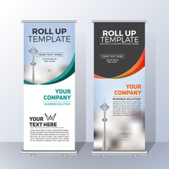 Vertical Roll Up Banner Template Design for Announce and Advertising. Vector illustration