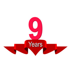 9th year anniversary background with red ribbon on white. Poster or brochure template. Vector illustration.