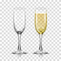 Realistic vector illustration set of transparent champagne glasses with sparkling white wine and empty glass.